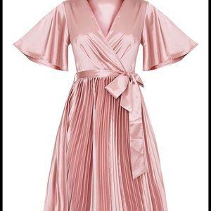 1001fff8043 PrettyLittleThing Dresses - Mairee Dusty Pink Satin Pleated Midi Dress